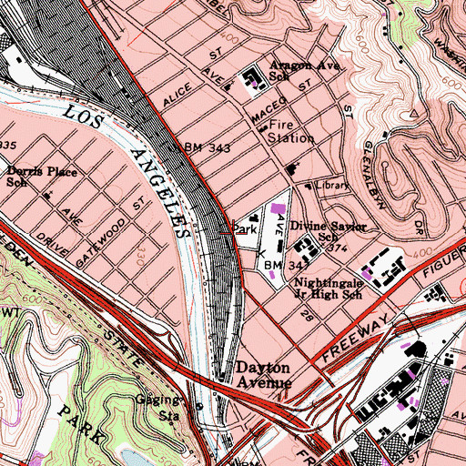 Topographic Map of Cypress Park, CA
