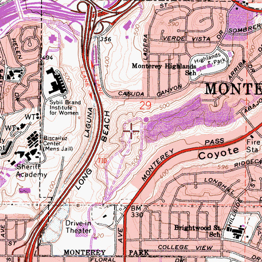 Topographic Map of Pinetree Park, CA