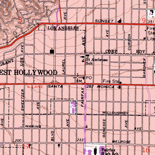 Topographic Map of Cole Branch Post Office, CA