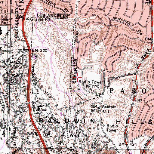Topographic Map of Kenneth Hahn State Recreation Area, CA