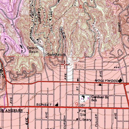 Topographic Map of Wattles Garden Park, CA