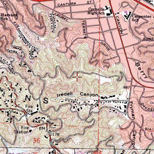 Topographic Map of Wilacre Park, CA