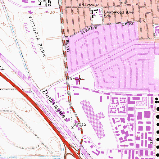 Topographic Map of Del Amo Park, CA