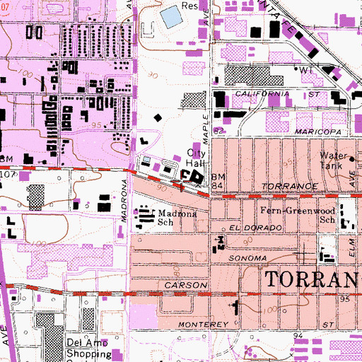Topographic Map of Torrance City Hall, CA
