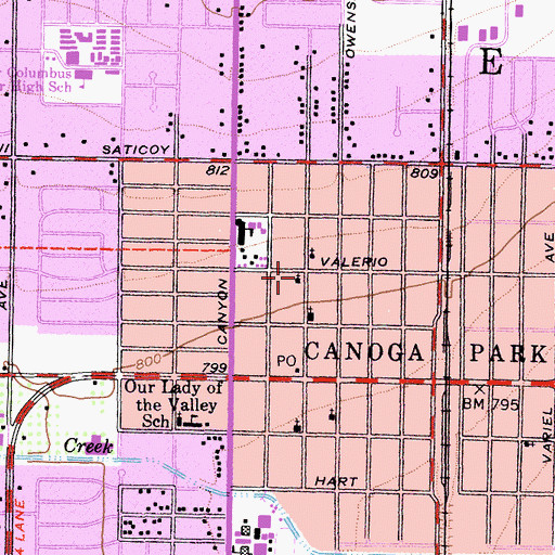 Topographic Map of Canoga Park Lutheran Church, CA