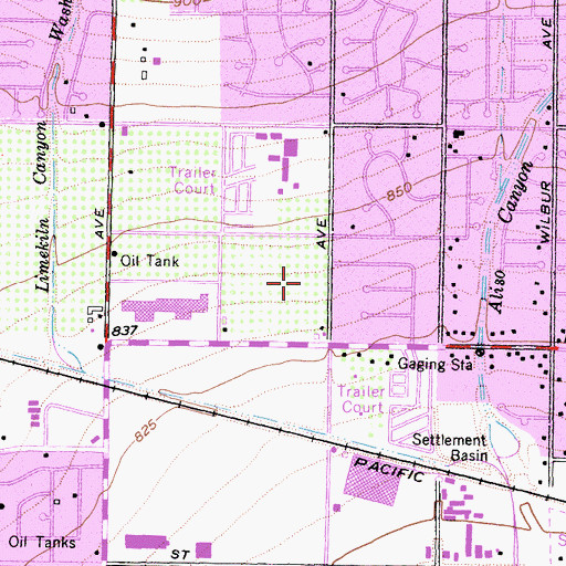 Topographic Map of Northridge Fashion Center Shopping Center, CA