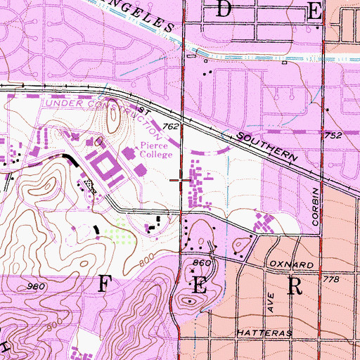 Topographic Map of West Valley Adult Occupational Training Center, CA