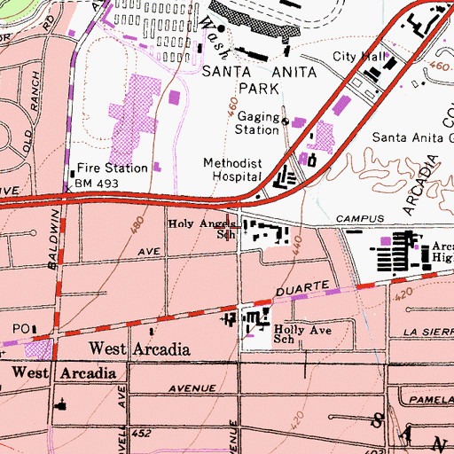 Topographic Map of Holy Angels Roman Catholic Church, CA