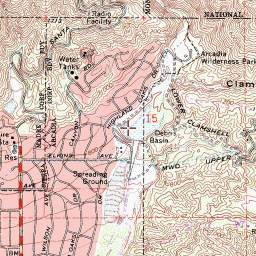Topographic Map of Santa Anita Debris Basin, CA