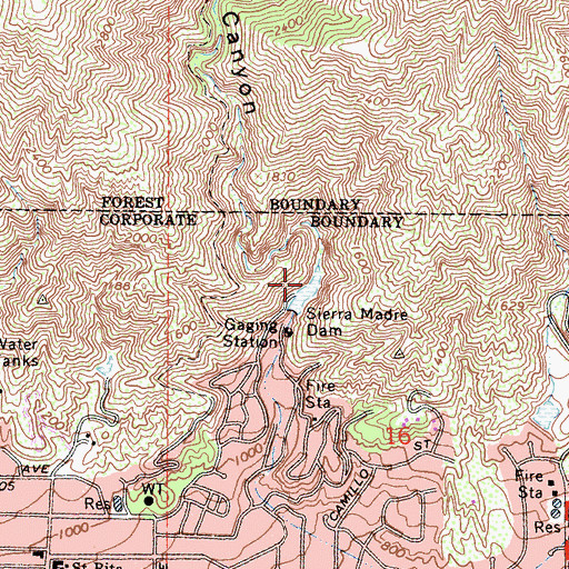 Topographic Map of Sierra Madre Debris Basin, CA