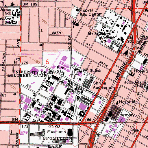 Topographic Map of Thirty-Second Street-University of Southern California Magnet School, CA