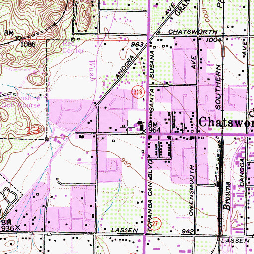 Topographic Map of Chatsworth Elementary School, CA