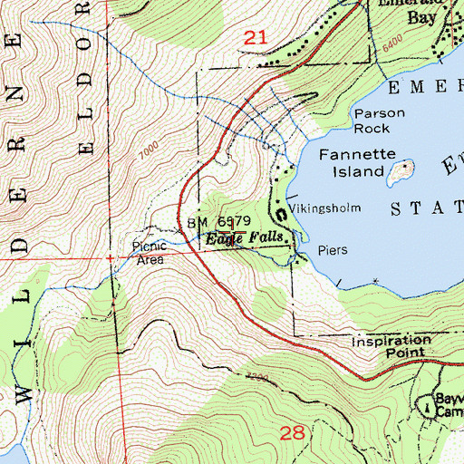 Topographic Map of Eagle Falls Trail, CA