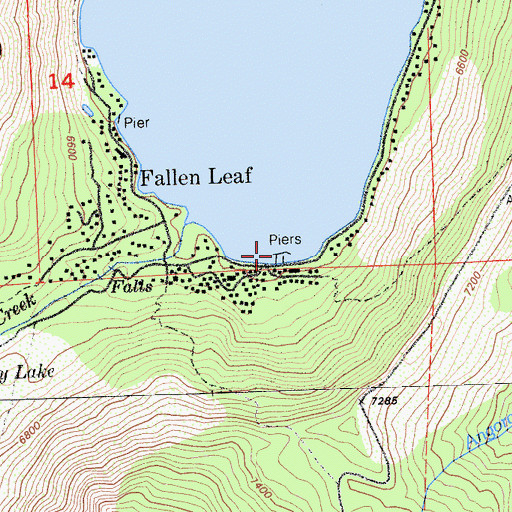 Topographic Map of Fallen Leaf Marina, CA
