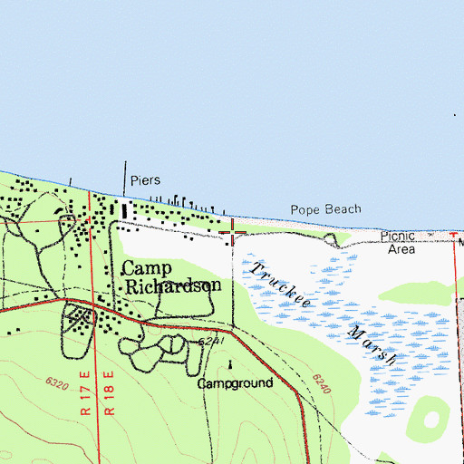 Topographic Map of Pope Beach Picnic Area, CA