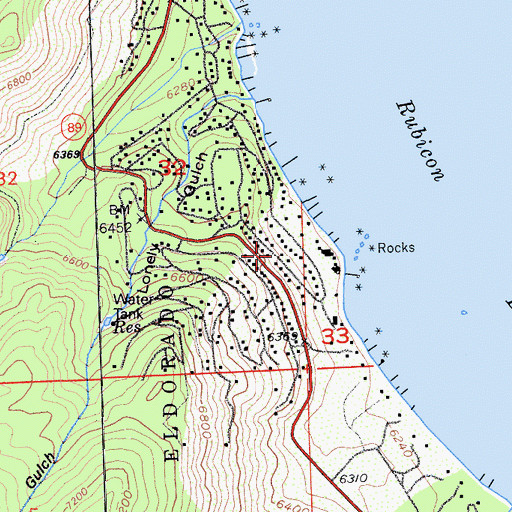 Topographic Map of Rubicon Properties, CA