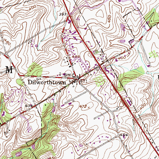 Topographic Map of Dilworthtown, PA