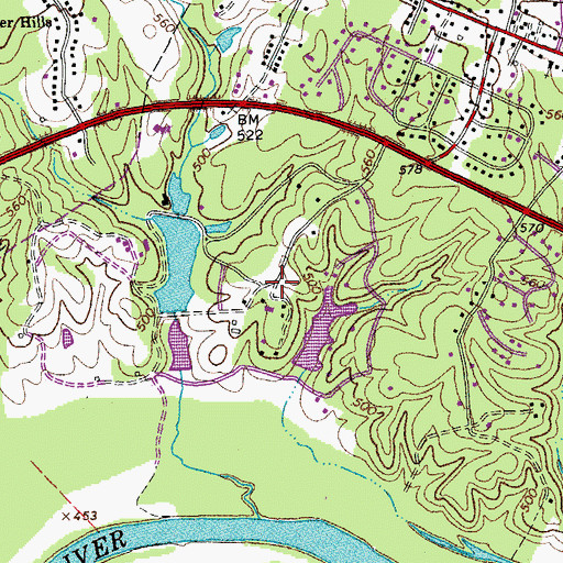 Topographic Map of Birnam Wood, VA