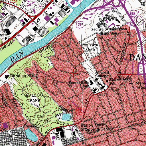 Topographic Map of Monument Circle, VA