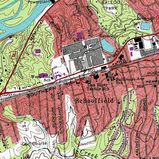 Topographic Map of Schoolfield Baptist Church, VA