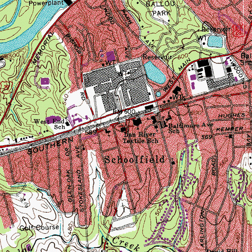 Topographic Map of Schoolfield United Methodist Church, VA