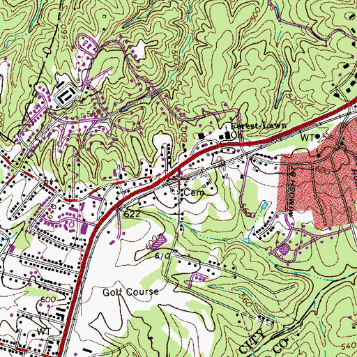 Topographic Map of Newton, VA