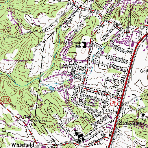 Topographic Map of Cedar Park, VA