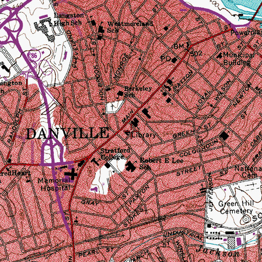 Topographic Map of Danville Museum of Fine Arts and History, VA