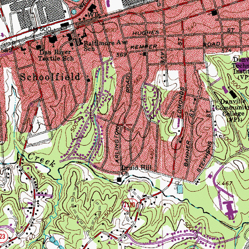 Topographic Map of Druid Hills, VA