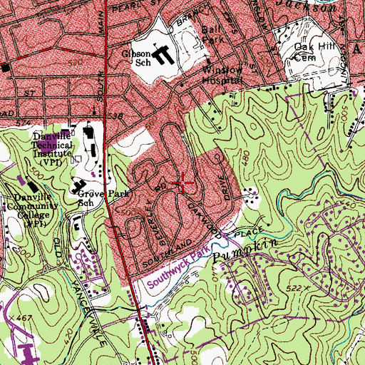Topographic Map of Grove Park, VA