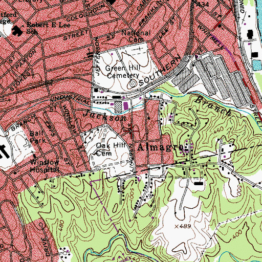 Topographic Map of Liberty Hill Baptist Church, VA