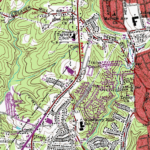 Topographic Map of Piney Forest Shopping Center, VA