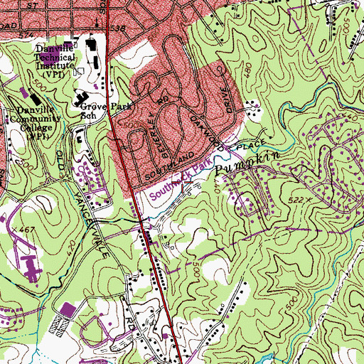 Topographic Map of Southwick Park, VA