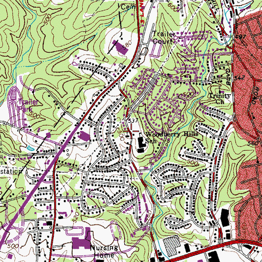 Topographic Map of Woodberry Hills Baptist Church, VA