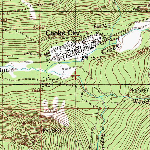 Topographic Map of Cooke City Elementary School, MT