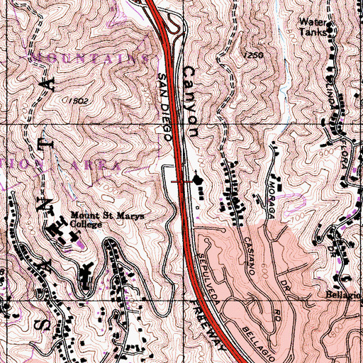 Topographic Map of Leo Baeck Temple, CA