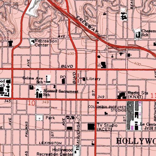 Topographic Map of Goldwyn-Hollywood Regional Branch Los Angeles Public Library, CA
