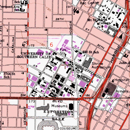 Topographic Map of Methodist Episcopal University Church (historical), CA