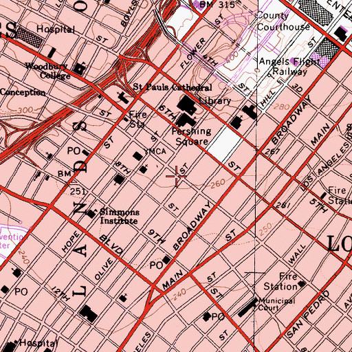 Topographic Map of Los Angeles Athletic Club, CA