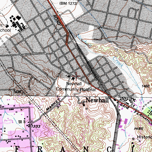 Topographic Map of Newhall Community Hospital (historical), CA