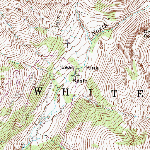 Topographic Map of Lead King Basin, CO