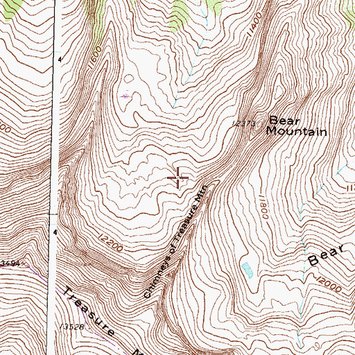 Topographic Map of Chimneys of Treasure Mountain, CO