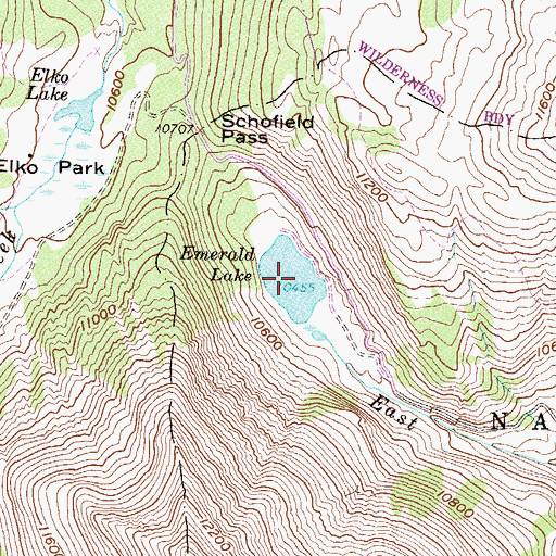 Topographic Map of Emerald Lake, CO