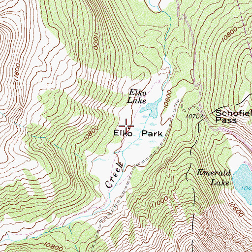Topographic Map of Elko Park, CO