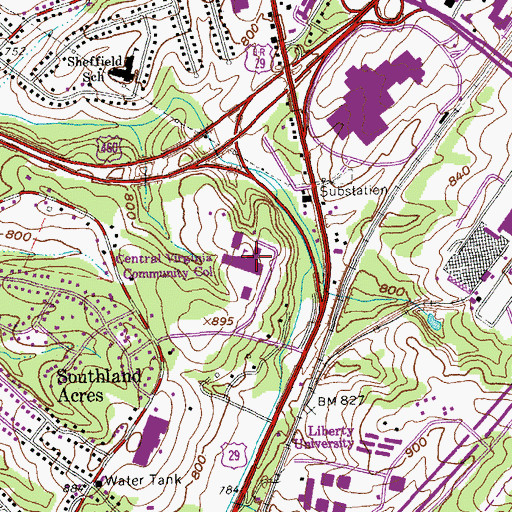 Topographic Map of Central Virginia Community College, VA