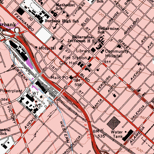 Topographic Map of Southern California Genealogical Society Library, CA