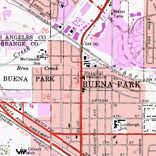 Topographic Map of Anaheim General Hospital Buena Park Campus (historical), CA