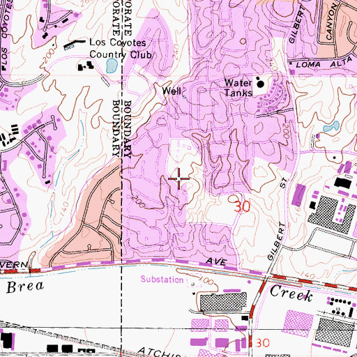 Topographic Map of Emery Park, CA