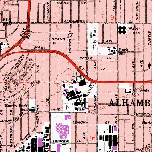 Topographic Map of Alhambra Fire Department Station 73 Northwest District, CA
