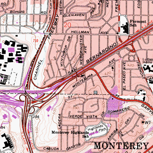 Topographic Map of Freeway Baptist Church, CA